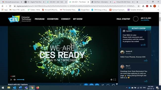 Virtual CES2021 Kicks Off with Verizon CEO Talking About 5G